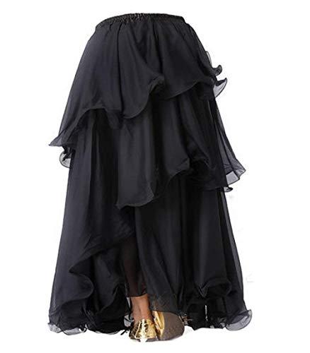Gonna lunga per danza del ventre realizzata con chiffon a 3strati - Ispirata agli abiti di Bollywood (nero)