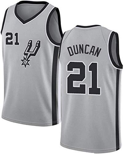 CXJ Herren Trikots, San Antonio Spurs # 21 Tim Duncan Basketball Jersey, Stickte Mesh-Fan Unisex Ärmel Trikots,A,L(175~180CM/75~85KG)