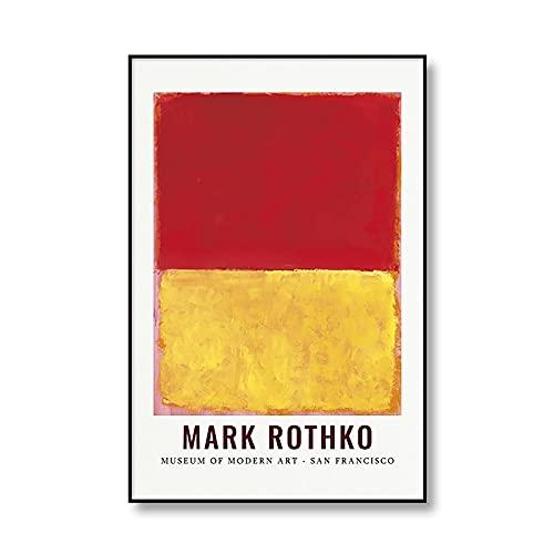 Famoso Mark Rothko abstracto colorido cartel de exposición impresión lienzo pintura arte moderno sin marco lienzo pintura Q-1 20x30cm