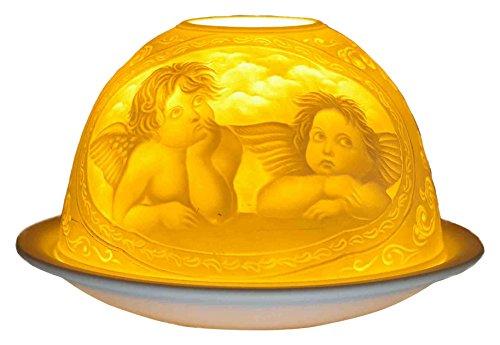 Himmlische Düfte Geschenkartikel GmbH Raphael Engel Windlicht, Porzellan, Weiss, 12x12x8 cm