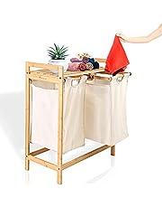 HEIMWERT Wasmand houten wasmand bamboe - voor een mooie kamer en perfecte orde - opbergmand rek mand laundry manden uittrekbare wasmand met deksel en 2 vakken manden