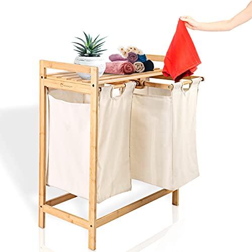 HEIMWERT Wäschekorb Holz Wäschesammler Bambus - Für ein schönes Zimmer und perfekte Ordnung - Aufbewahrungskorb Regal Korb laundry baskets ausziehbarer Wäschekorb mit Deckel und 2 Fächer Körbe