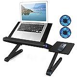 2021 New Laptop Table, Laptop Stand for Bed Portable Lap Desk Foldable Laptop Workstation Notebook Riser Desk with 2 CPU Cooling USB Fans & Mouse Pad, Ergonomic Lap Desk TV Bed Tray Standing Desk