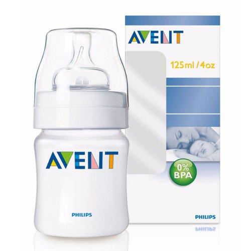 Philips Avent SCF680/17 - Biberón Clásico 125 ml, tetina de flujo recién nacido, sistema anticólico exclusivo, compatible con la gama Philips AVENT