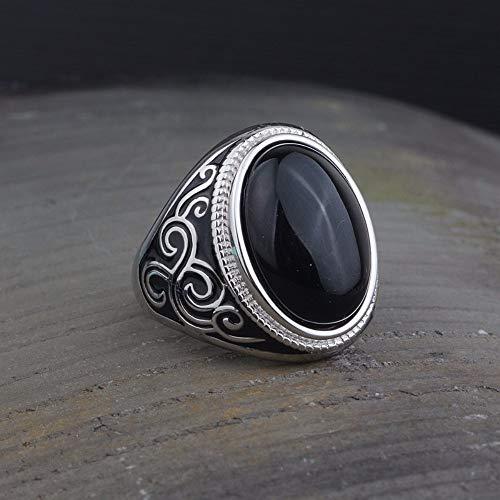 THTHT Vintage S925 Silver Ring Women'S Opening Overdreven Zwarte Onyx Lijm Mannen En Vrouwen Mode Creatieve Geschenk Persoonlijkheid