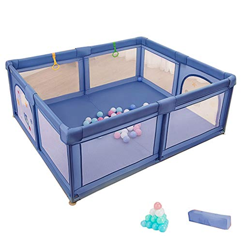 Parque de Juegos Bambino Piccolo Gioca a Yard, Box di Sicurezza per Bambini con Custodia e 50 Palline, Piscina Al Chiuso con Giochi a Sfera per 0-4 Anni, 180 × 150 × 68 Centimetri (Color : Blue)