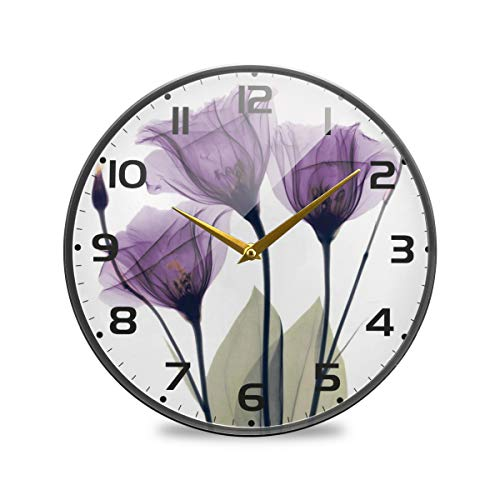 ZOEO Lavender Large Wall Clocks, Vintage Battery Operated Purple Hope Flowers Non Ticking 12 inch Clock Silent Art Bedroom Kitchen Clock Atomic Analog Clocks Home Decor for Girls Kids