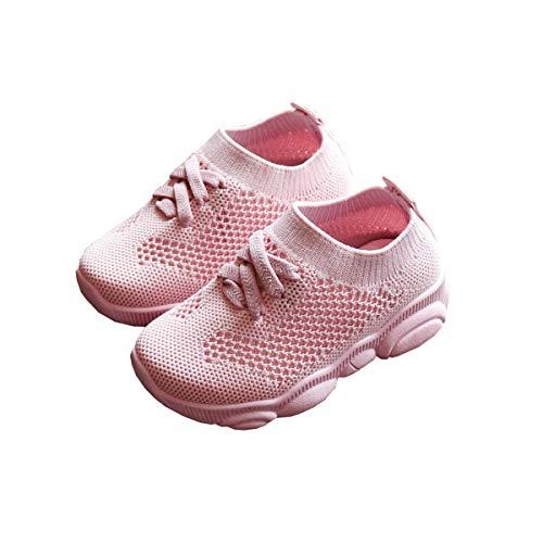 DEBAIJIA Kleinkindschuhe 0-3T First-Walking Kinderschuhe Einfarbige Turnschuhe Rutschfestes Netz Atmungsaktives Leichtgewicht Eva-Material 23/24 EU Pink (Etikettengröße-24)