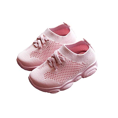 DEBAIJIA Toddler Shoes 0-3T Baby First-Walking Kid Shoes Solid Color Trainers Non Slip Mesh Breathable Lightweight EVA Material Slip-on(Pink-2)