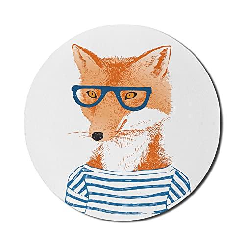 Modernes Mauspad für Computer, Hipster Woman Fox mit Brille und gestreiftem Hemd Humor Character Animal Print, rundes, rutschfestes, dickes Gummi Modern Gaming Mousepad, 8 'rund, blau, orange, weiß