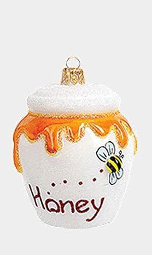 Pinnacle Peak Trading Company White Honey Pot Polish Mouth Blown Glass Christmas Ornament Food product image