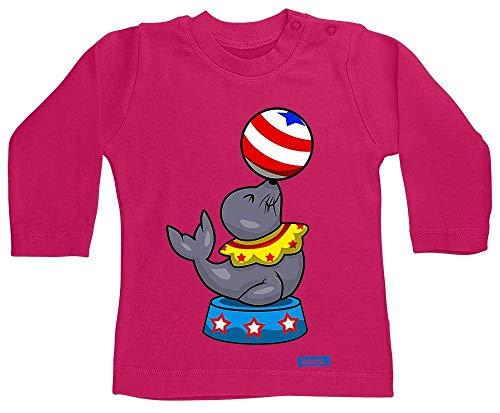 Hariz - Camiseta de manga larga para bebé, diseño de león marino, circo, animales zoo Plus, tarjetas de regalo Unicornio fucsia. Talla:12-18 meses