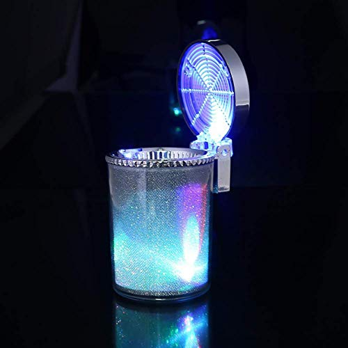 eing Car Ashtray Portable Smoke Cup Holder Home Cigarette Ash Tray with Colorful LED Light,Ideal for Truck Office Auto