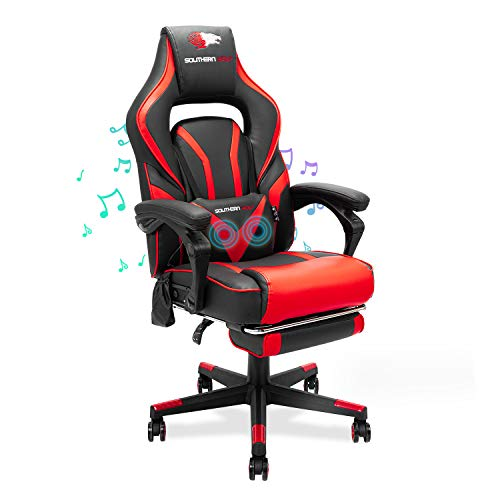 SOUTHERN WOLF Gaming Chair Racing Style Office Swivel Computer Desk Chair Ergonomic Conference Chair Work Chair with Footrest PU Leatherwith Adjustable Task Chair Gas Lift SGS Tested (Black&Red1, SW1)