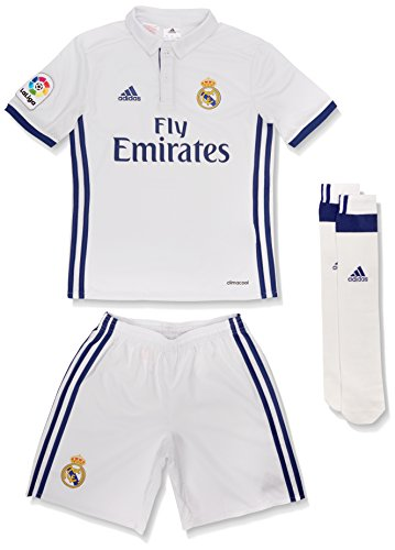adidas Kinder Real Madrid Mini-Heimausrüstung Fußballdress, Crystal White/White/Gold Met, 128