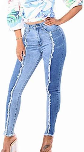 FEDULK Women Denim Pants Slim Leggings Fitness Plus Size Leggins Length Jeans L 5XL Sky Blue product image