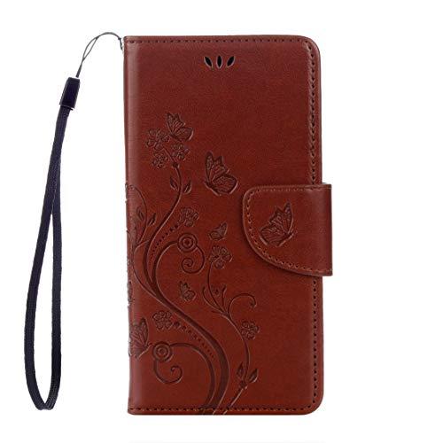 Cassa posteriore del telefono WU Huawei Y6 II Mariposas Love for Flowers Embossing Horizontal Flip Funda de piel con soporte y ranuras para tarjetas, cartera y cordón (negro) (Color: Marrón)