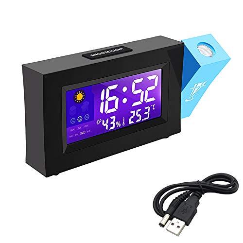 Sveglia con Proiettore, Aweskmod Sveglia Digitale da Comodino Moda Sveglia, Sveglia Digitale LED con Stazione Tempo/LCD a Display/Temperatura e Data/Funzione Snooze/ 12&24h