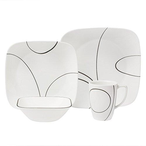 CORELLE 1092887 Simple Lines Square 16-Piece Dinnerware Set, Service for 4, Black/White