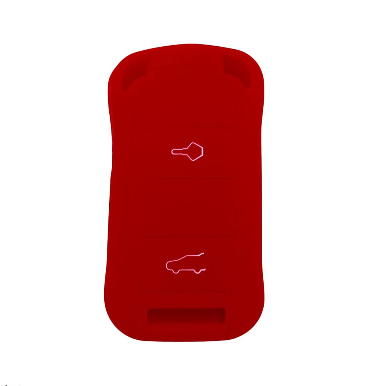 Hwota Silicone Lightweight Car Remote Key Case Cover Shell for Porsche Cayenne GTS -Red
