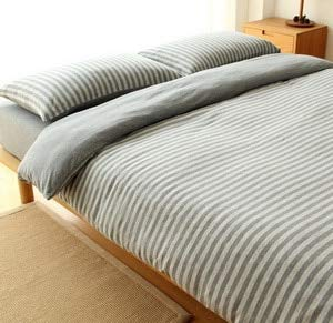 LEV Bedding Sets - 100% cotton yarn dyed jersey duvet cover japanese style stripe design quilt cover 1pc and 3pcs set 1 PCs
