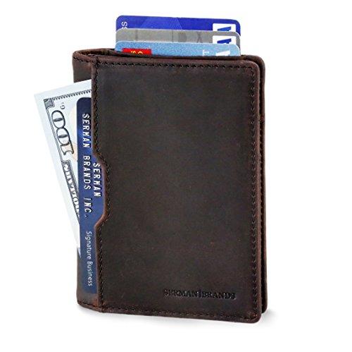 Wallets for Men Slim Mens leather RFID Blocking Minimalist Card Front Pocket Bifold Travel Thin (Texas Brown 5.0)