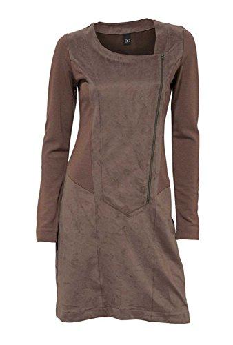 Shirtkleid Lederimitatkleid Damen Kleid Lederkleid Imitat braun Gr. 40