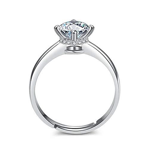 Esberry Anillo chapado en oro de 14 quilates AAA+ brillante circonita cúbica imitación diamante anillo de boda moderno creativo personalizado anillo de apertura para niñas
