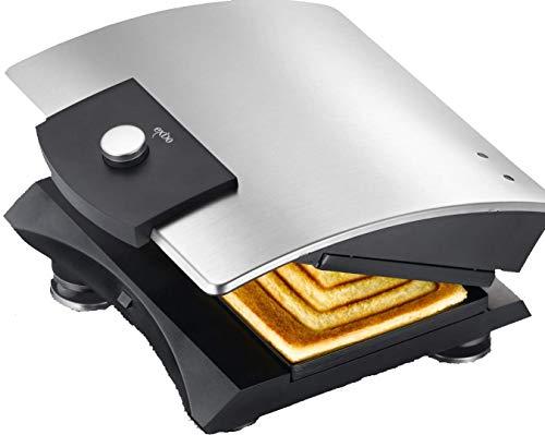 Exido 12240004 Design Sandwich-Toaster / Sandwich-Maker aus robustem Edelstahl - Silber / Schwarz -...