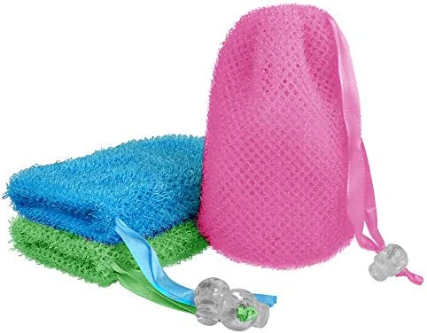 3 Pcs Soap Bag Exfoliating Soap Saver Pouch Exfoliator Sponge Soap Pocket Drawstring Bags Body product image