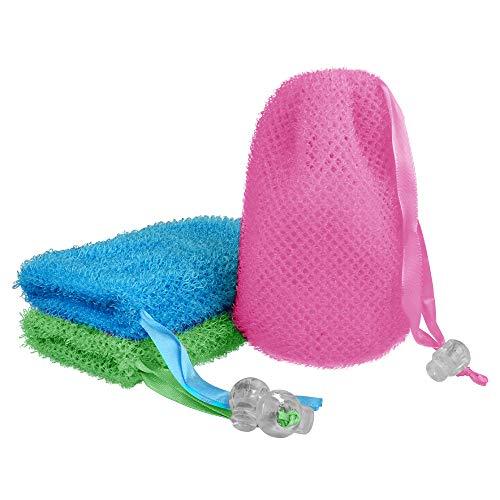 3 Pcs Soap Bag, Exfoliating Soap Saver Pouch, Exfoliator Sponge Soap Pocket Drawstring Bags, Body Scrubber for Bath or Shower (Three Random Color)
