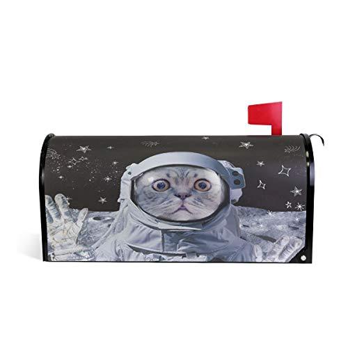 Weltraumkatze Astronauten Kätzchen Briefkasten Abdeckung Wetterfest Magnet Verblassen Wetterfest Galaxy Stern Mond Meteor Dekorative Briefkasten Wrap 64,7 * 52,8 cm