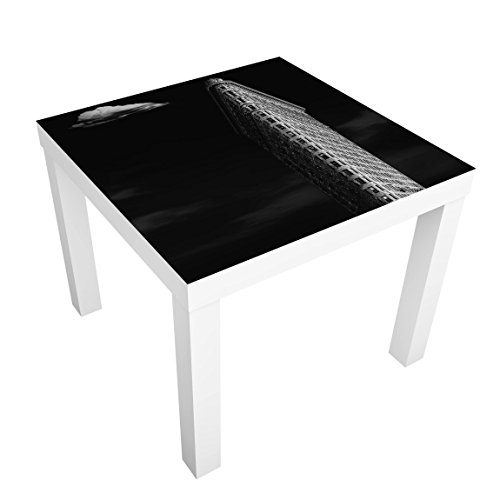 Bilderwelten Table Basse Design - Flatiron Building - 55x55x45cm, Couleur de la Table: Table de Blanc, Dimension: 55 x 55 x 45cm