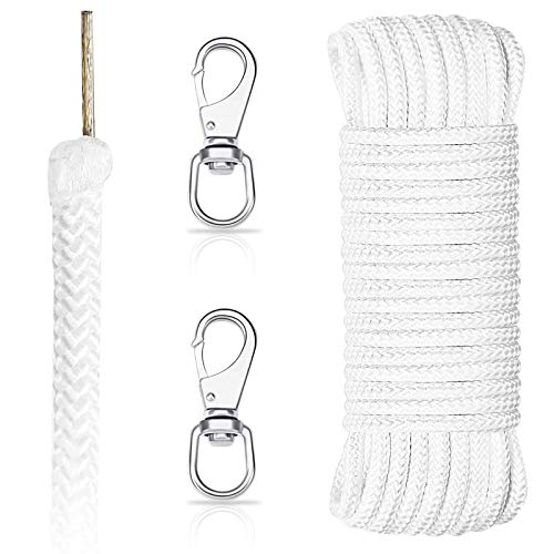 DOSTATNI 5/16' x 100 ft Wire Center Flagpole Rope with Clips Kit Polyester Flagpole Halyard Rope with Wire core and 3.4' Stainless Steel Snap Hooks for Flagpole