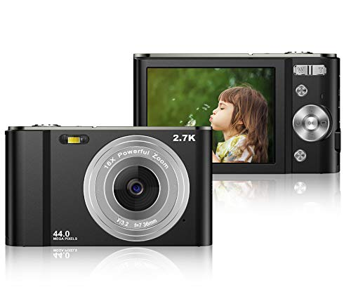 Digital Camera 2.7K Rechargeable HD Digital Camera 44 MP Mini Camera 2.88 Inch LCD Vlogging Camera with 16X Digital Zoom Compact Cameras for Teens, Kids, Beginners(Black)
