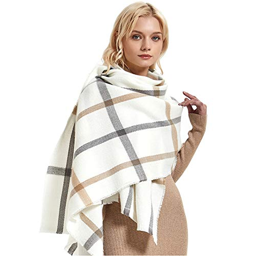 2 PLY 100% Cashmere Scarf Elegant Collection Wool Plaid (200-70, White and khaki)