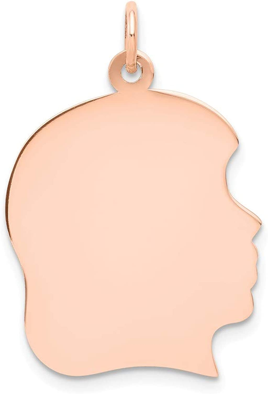 Beautiful pink gold 14K 14k pink gold Plain Large .011 Gauge Facing Right Engraveable Girl Head Cha