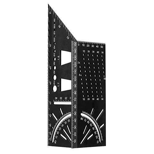 3D Gehrungswinkel, Orthland Mitre Aluminiumlegierung Winkel Zollstock Holzbearbeitung Quadratisch Größe Maßnahme Zollstock 90° Winkelmaß Messwerkzeug für Holzrohren, Geschenke für den Vater, T-Form