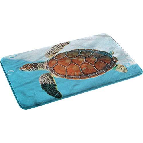Ahuimin - Alfombra de baño absorbente de tortuga, antideslizante, súper acogedora, de 44,5 x 74,9 cm