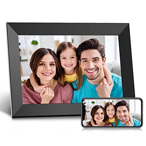 Digitaler Bilderrahmen WLAN 10,1 Zoll, Elektronischer Bilderrahmen mit HD IPS Touchscreen, 16 GB Speicher, Automatisches Drehen, Teilen von Fotos und Videos per Frameo jederzeit und überall