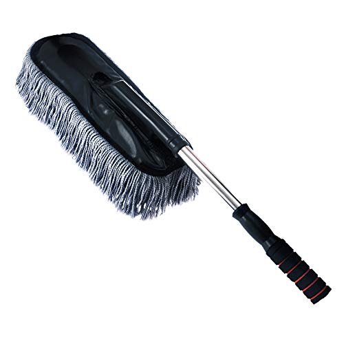 Vozada Microfiber Car Duster Wash Mop with Extendable Handle for Exterior and Interior, Lint Free – Scratch Free Cleaning Brush Cleaning Tool (Gray)