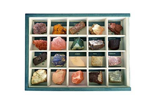 Colección de 20 Minerales del Mundo en Caja de Madera Natural - Minerales Reales educativos de Gran tamaño con Hoja de descripción. Kit Geología para niños