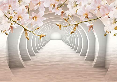 wandmotiv24 Fototapete Tunnel orange Blumen XXL 400 x 280 cm - 8 Teile Fototapeten, Wandbild, Motivtapeten, Vlies-Tapeten Wasser, 3D M3939