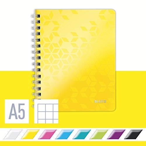 Leitz WOW Collegeblock in A5 Format, 80 Blatt, Kariert, Elfenbeinfarbiges Papier (80 g/m2), Spiralbindung, Gelb, WOW, 46410016