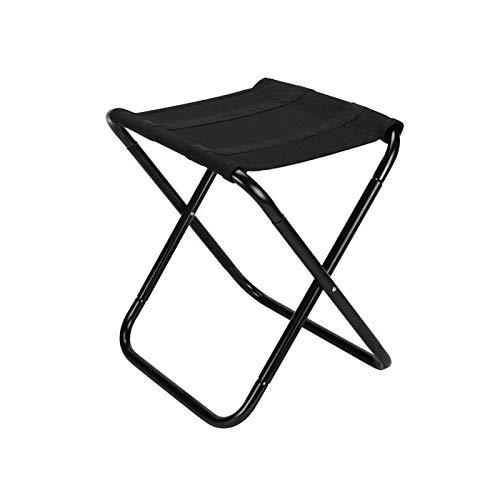 Taburete plegable para campamento al aire libre, plegable, ligero, tamaño grande, color negro con bolsa de almacenamiento