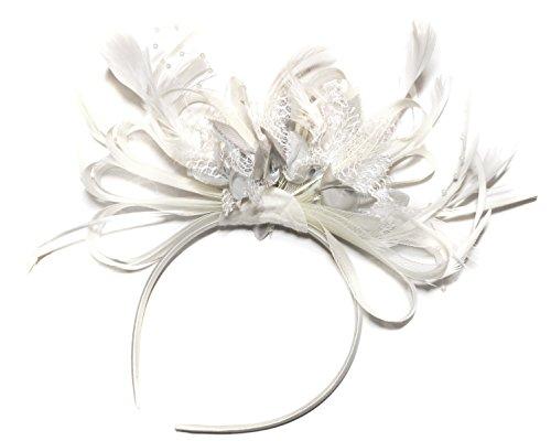 Tocado de plumas de aro, color blanco y plateado, para bodas y carreras de Ascot