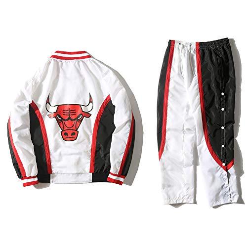 1992-1993 Bulls Warm Up Jacke Retro-Mantel, Basketball-Trikot-Kit, Sporthosenanzug für Windjacke im Frühjahr und Herbst, Rot, Weiß-White-XL