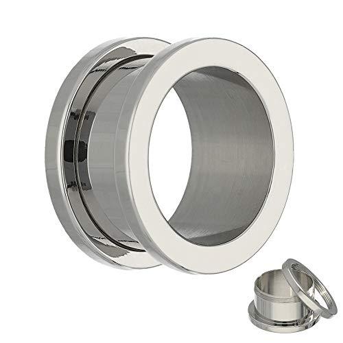 Treuheld® | 16mm Ohr Flesh Tunnel | Silber | Chirurgenstahl 316L | Damen und Herren | mit Gewinde - Schraubverschluss/zum Schrauben