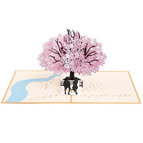 Vicloon 3D Karte, Grußkarten mit Umschlag und Rosa Kirschblüte, Valentinstag Karte, Hochzeitseinladung, für Geburtstags, Hochzeitstag, Graduierung, Valentinstag, Geschenke zur Hochzeit
