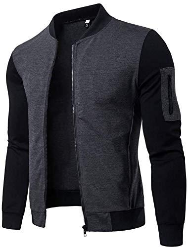 Memoryee Coupe-Vent et Chaud Sweat-Shirt Homme Manches Longues Pull Uni Zippé Bomber Blouson Veste Sport/Gray-style1/XL